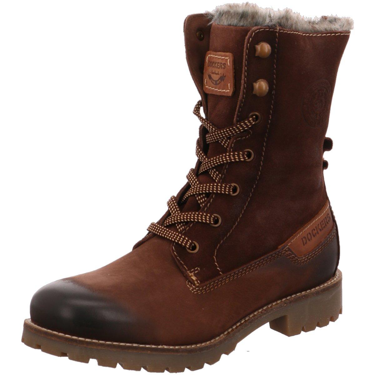 Stiefel Ankle Boots braun Schnallen Dockers Stiefeletten Damen Schuhe