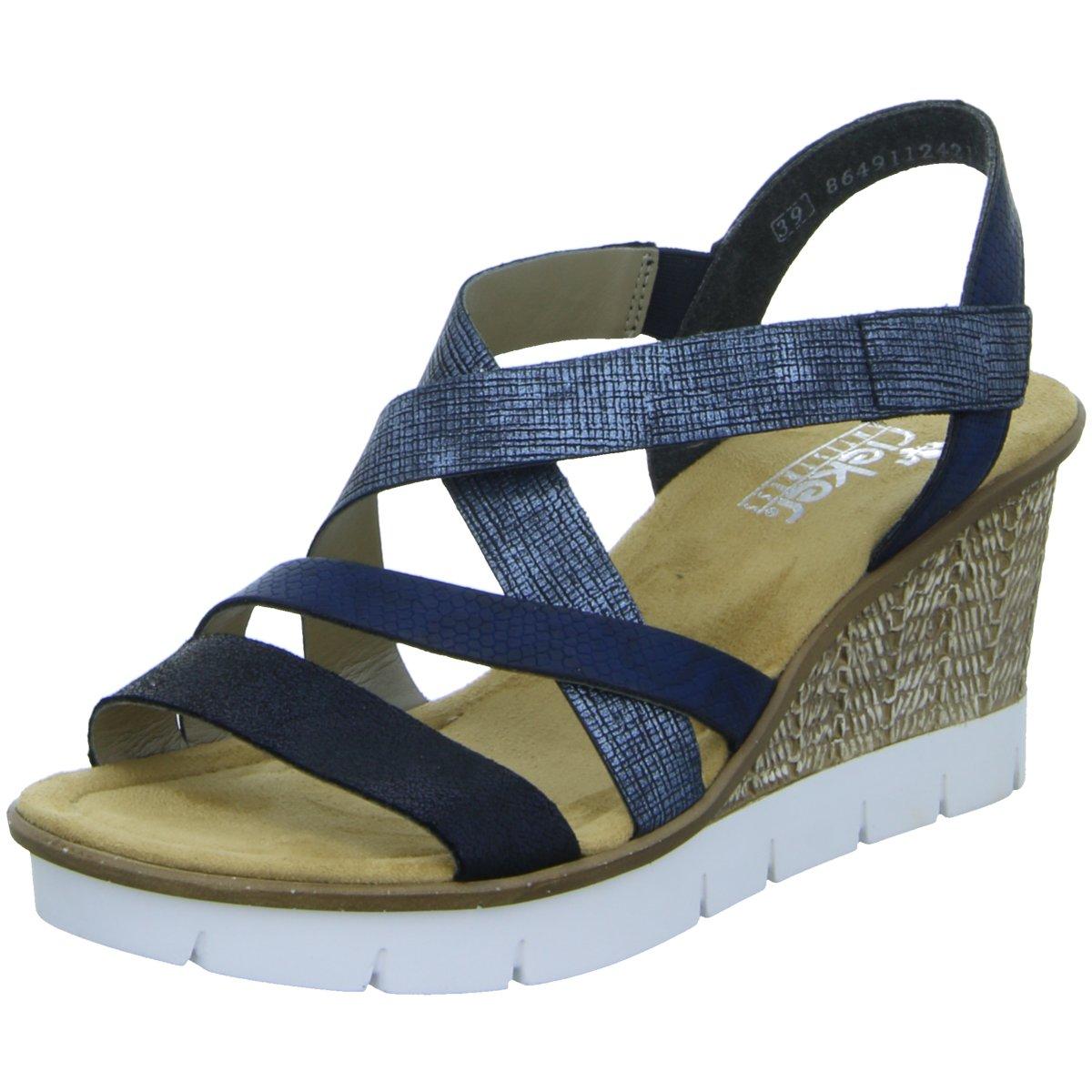 NEU Rieker Damen Sandaletten Sandalette eleganter Boden 65571-14 blau 284552