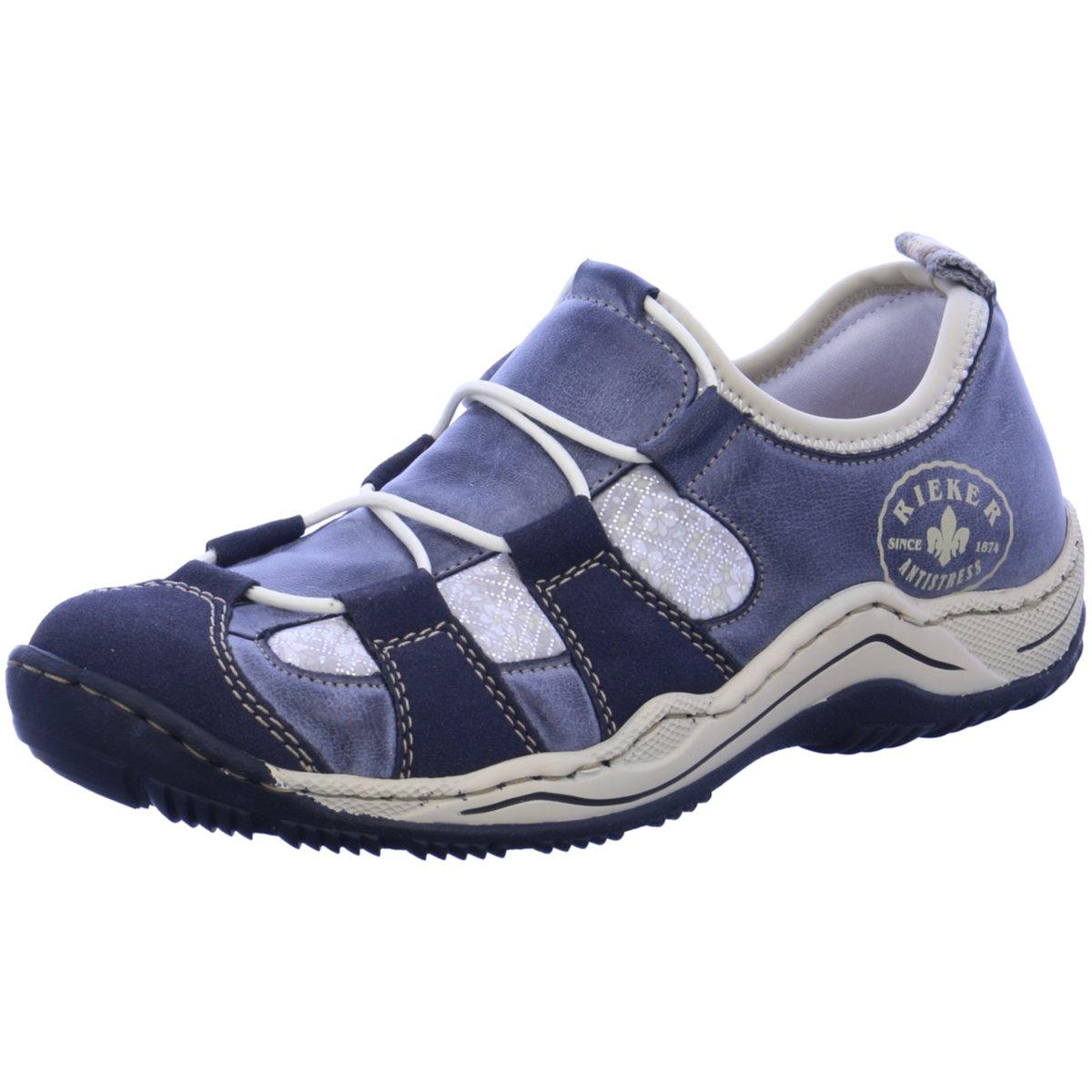 NEU Rieker Damen Slipper Slipper Halbschuh Casual L0582-14 blau 107024