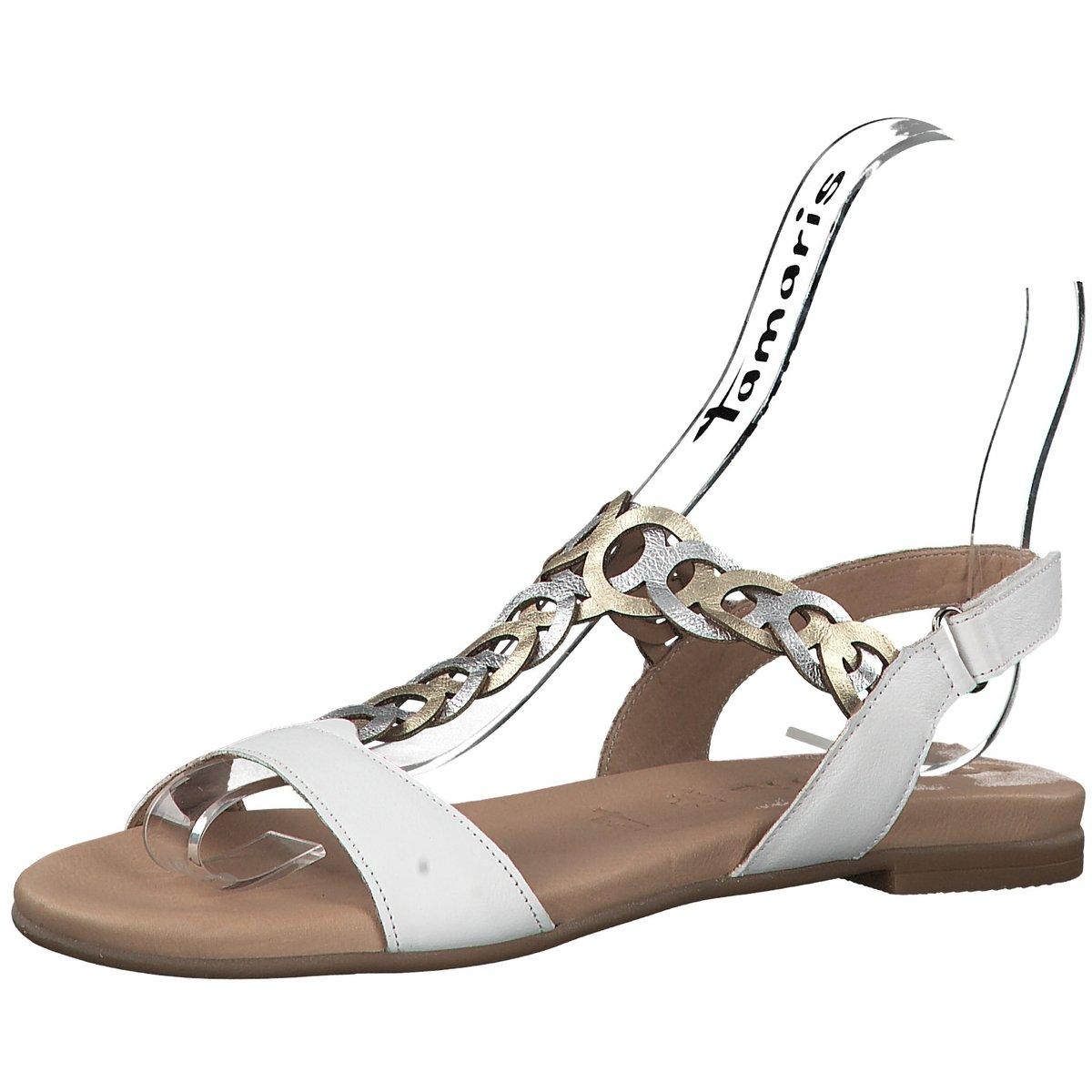 Tamaris Weiß Zu Sandaletten 28127 197 Sandalette Damen 604411 In Details Flache 8wkOPn0